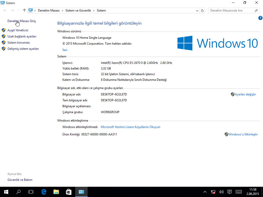 activator windows 10 home single language