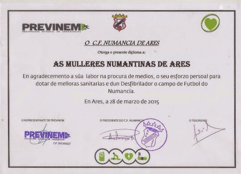 Diploma de agradecemento as Mulleres Numantinas.