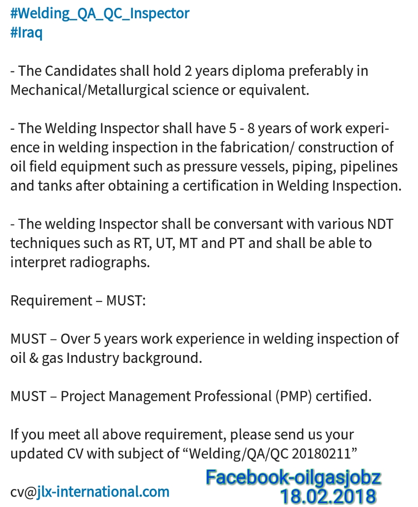 Oil and Gas Jobs: Welding QA/QC Inspector