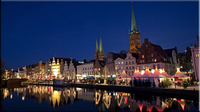 Lübeck, vista nocturna