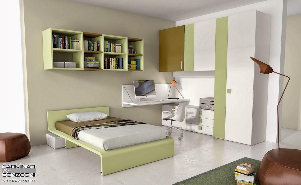 Bergamo, cameretta da ragazzo con letto da una piazza e mezza, pensili libreria, scrivania a muro.jpg