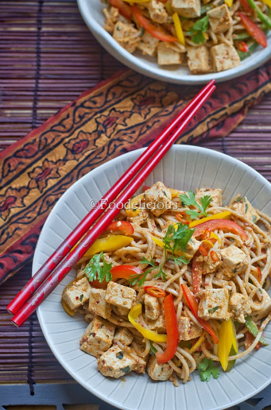 Spicy Soba Noodles & Tofu Salad in Peanut Butter and Basil dressing2
