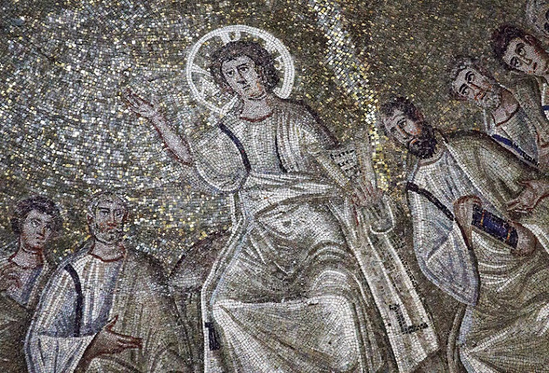 100. Mosaic of Christ the Lawgiver in the Saint Aquilino chapel. Detail. IV Century. Milan. 2013