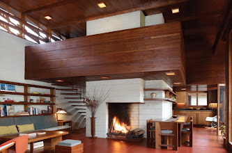 Photo: Wright's early green-design principles are still valid today: an open floor plan, passive solar and radiant heat, maximized daylight, and recycled construction waste. Much of the living room and dining room furniture is built from leftover plywood. Top: Lawrence and Sharon Tarantino stayed true to Wright's original design, earning them the AIA-NJ Preservation Merit Award.