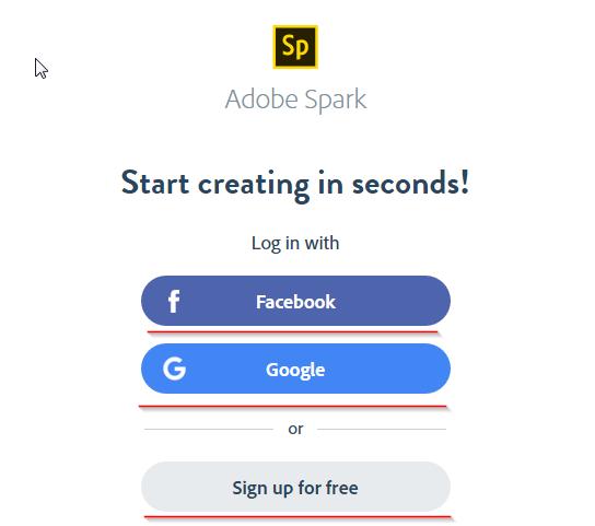Adobe Spark - Регистрация