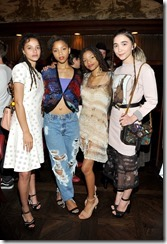 HOLLYWOOD, CA - MARCH 30:  (L-R)  Actor Sasha Lane, actors/singers Chloe Bailey, Halle Bailey and actor Rowan Blanchard attend the Coach & Rodarte celebration for their Spring 2017 Collaboration at Musso & Frank on March 30, 2017 in Hollywood, California  (Photo by Donato Sardella/Getty Images for Coach)