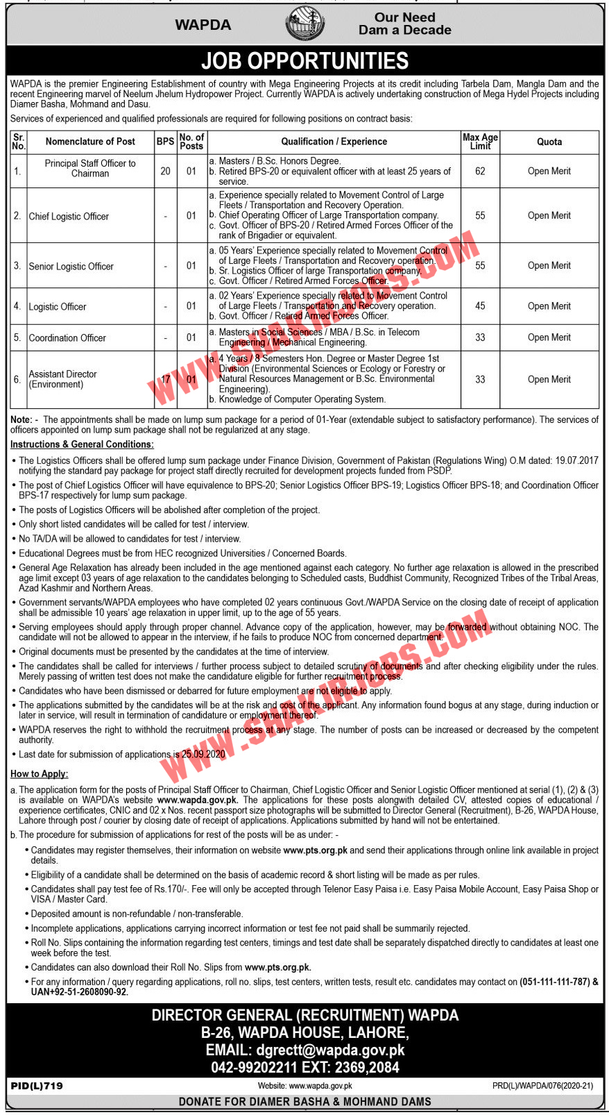 Jobs in WAPDA Jobs September 2020 - Water And Power Development Authority