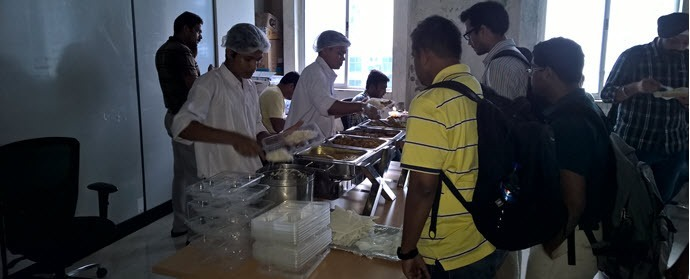 People having lunch during the Xamarin dev-days Kolkata