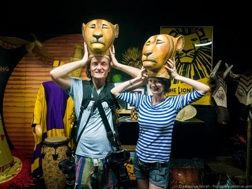 Laurence and Jess lion king masks