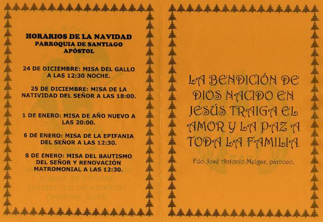 Parroquia de Monda, Horarios Navidad 2011