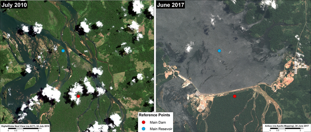 Aerial images produced by the MAAP Project showing before (July 2010) and after (June 2017) the construction of the Belo Monte dam on the Xingu River. Photo: DigitalGlobe / ACT / Airbus / Apollo Mapping