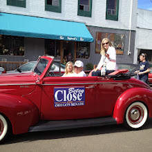 Photo: Betsy Close for OR State Senate driven by Al and Kathi Hutchinson in 1940 Ford convertible