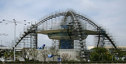 Photo: The LAX rotating restaurant with heavy scaffolding, May 2008, from the United terminal.