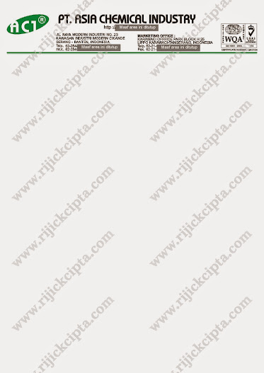 contoh cetak kop surat PT. Asia Chemical Industry, perusahaan chemical di Modern Cikande