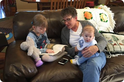Elaine reading with Grandma