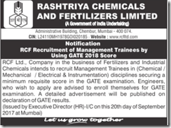 RCF Management Trainee GATE 2018 www.indgovtjobs.in