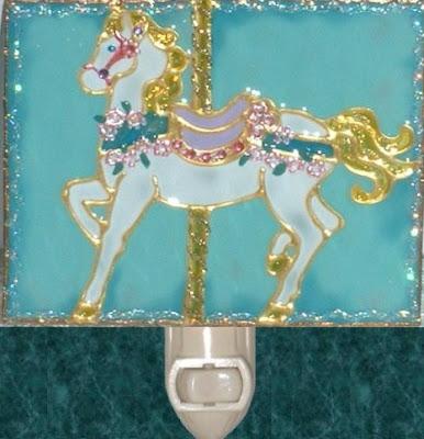 Aqua Carousel Horse nightlight