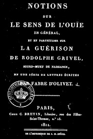 Cover of Fabre d'Olivet's Book Notions sur le Sens de L'Ouie (1811,in French)
