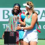 INDIAN WELLS, UNITED STATES - MARCH 20 : Victoria Azarenka, Serena Williams at the 2016 BNP Paribas Open trophy ceremony