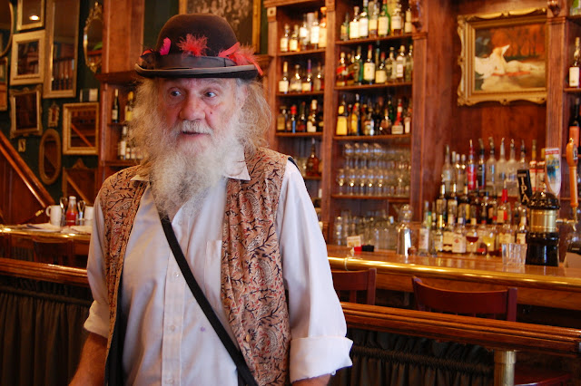 Dirty Dan Harris (portrayed by Jim Roth) in front of the bar at Skylark's Hidden Cafe in Fairhaven.  Credit: Bellingham Whatcom County Tourism