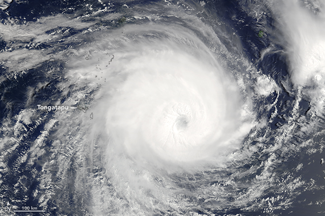 Packing sustained winds of 230 kilometers (145 miles) per hour, tropical cyclone Gita slammed into the island nation of Tonga on 12 February 2018. According to initial reports, the category 4 storm caused widespread damage in Tongatapu, the largest and most densely populated of the kingdom's 169 islands. It struck the Samoan Islands as a category 3 storm the day before. The Moderate Resolution Imaging Spectroradiometer (MODIS) on NASA's Terra satellite captured this image as the storm bore down on Tonga on February 11, 2018. Photo: Jeff Schmaltz / NASA Earth Observatory