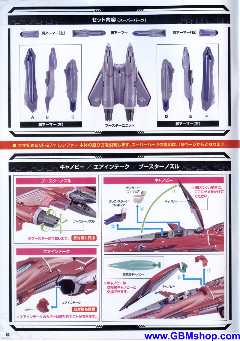 Bandai DX VF-27γ Lucifer with Super Pack Transformation Manual Guide