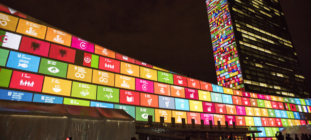 Ahead of the UN Sustainable Development Summit from 25-27 September 2018, and to mark the 70th anniversary of the United Nations, a 10-minute film introducing the Sustainable Development Goals is projected onto UN Headquarters. Photo: Cia Pak / UN Photo