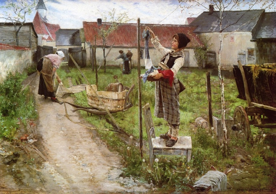 Charles Sprague Pearce - Hanging Laundry