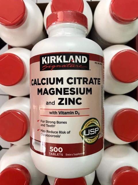Hỗ trợ xương khớp Viên uống Kirkland Calcium Citrate Magnesium and Zinc 500 viên của Mỹ