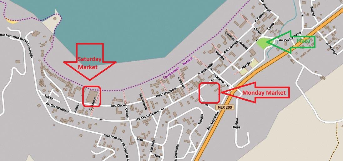 Map of Guayabitos markets