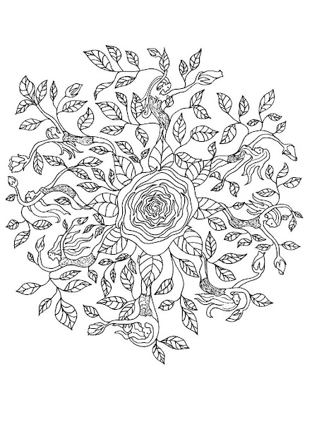 Rose Elf Mandala Worksheet Color Online Print