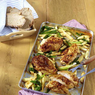 Spicy Baked Chicken with Parsnips.