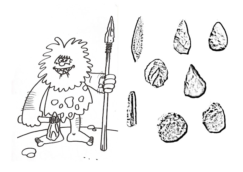 Herramientas prehistóricas para colorear