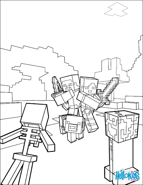 Minecraft Coloring Page  Fight All The Mobs