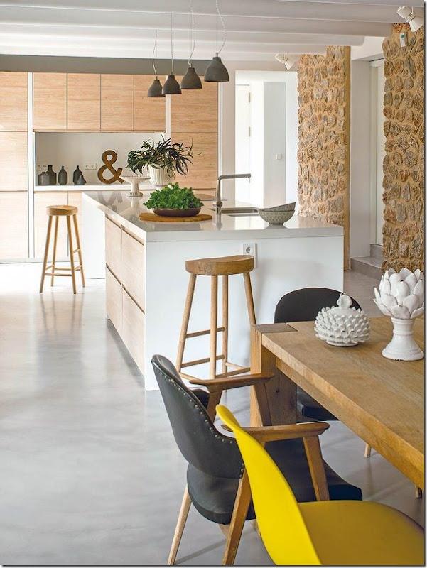 Cucina in verde e giallo e stile retro-vintage-nordico