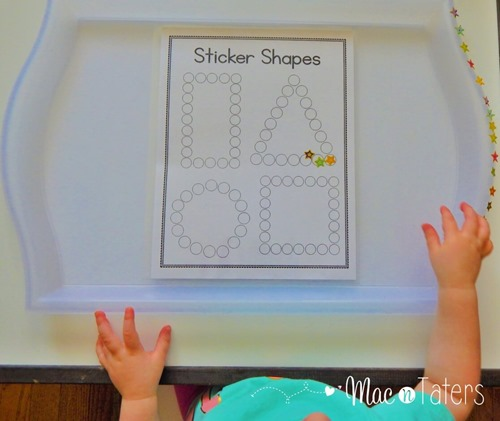 These shape sticker pages are a great fine motor activity for toddlers and preschoolers. While practicing their fine motor skills, children can also practice their shapes.