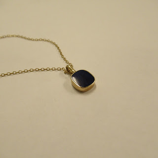 14K Gold and Lapis Pendant Necklace