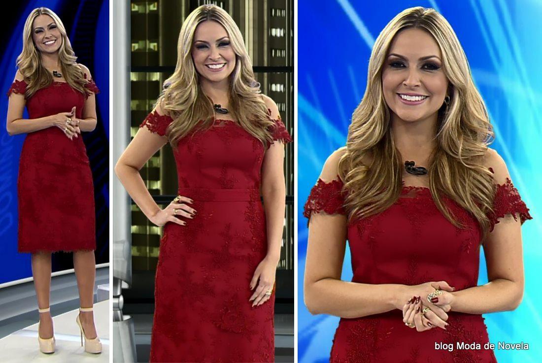 moda do programa Domingo Espetacular - look da Thalita Oliveira dia 1º de junho