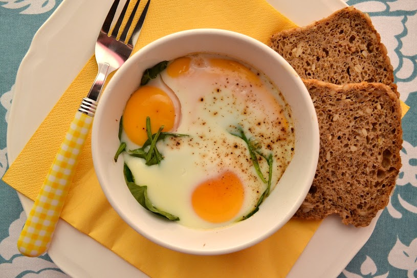 baked eggs with smoked fish spinach