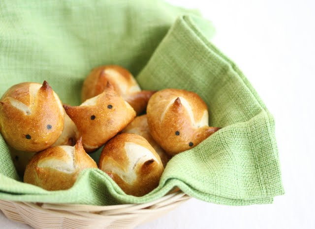 Soft Pretzel Bunnies in a basket