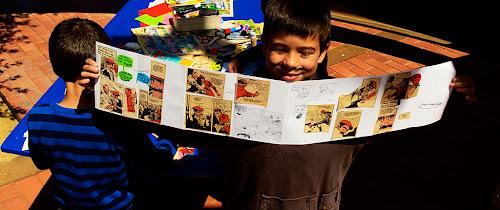 taller de còmics reciclats - Un dia de conte, 2014