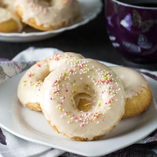 Easy Baked Iced Vanilla Doughnuts