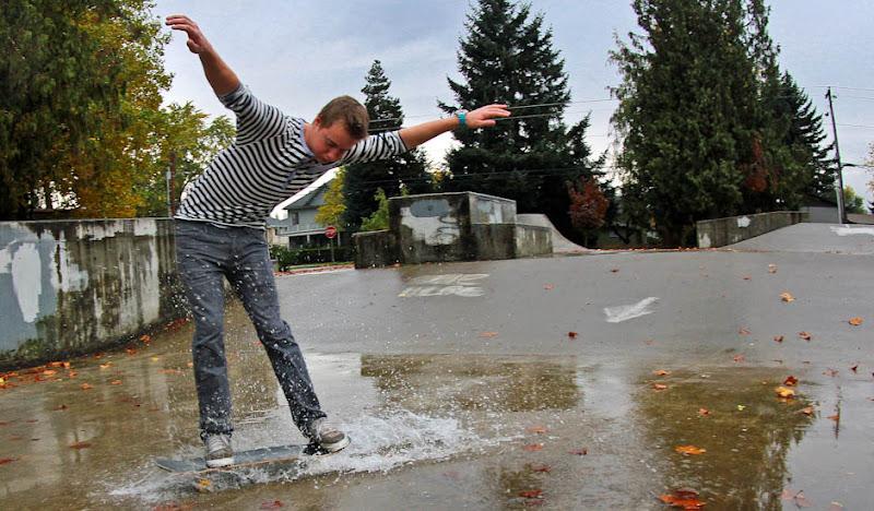 Navy Striped Henley Wet Skateboarding
