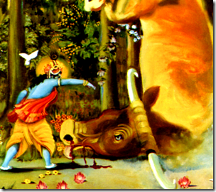 [Krishna hurling Arishtasura]