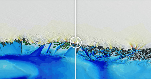 A stretch of Greenland's coastline as created by BedMachine, before and after the inclusion of new data from NASA's Ocean Melting Greenland campaign. Credit: UCI