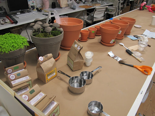 pots getting prepped for milk paint