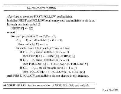 課本建構FIRST SET, FOLLOW SET及nullable的演算法