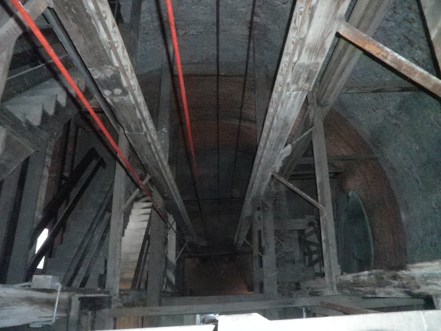 Looking down the Shot Tower's center where lead was dropped.