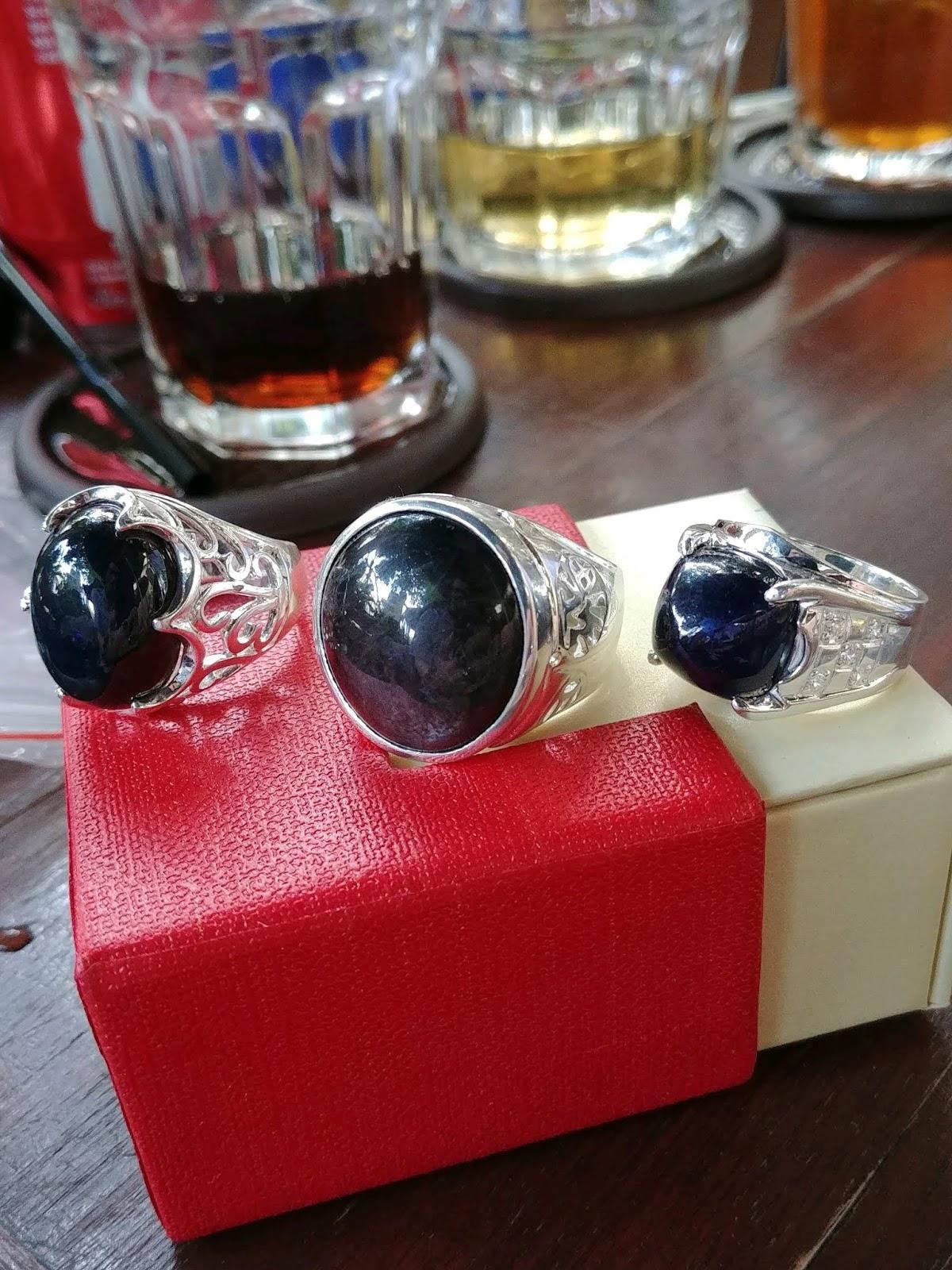 Nhẫn nam đá Sapphire thiên nhiên các loại, bạc cao cấp