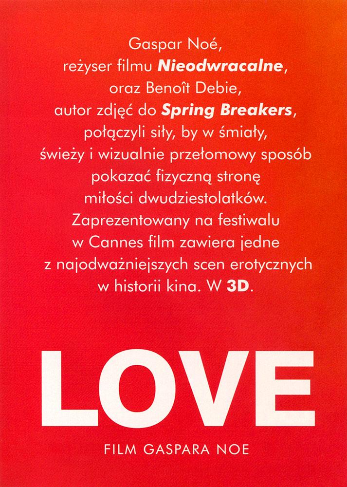Ulotka filmu 'Love (tył - wersja B)'